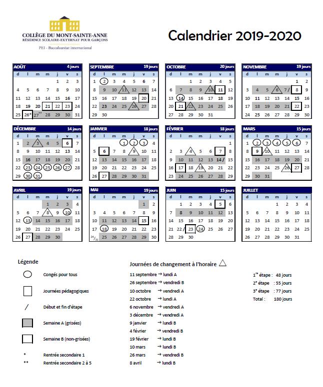 Calendrier Pro A 2020 2019.Calendrier Scolaire 2019 2020 College Du Mont Sainte Anne